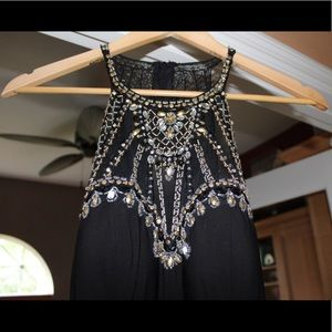 Sequined Black and Gold Formal Dress